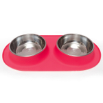 Messy Mutts Watermelon Red Silicone Extra Large Double Feeder with Stainless Steel Bowl