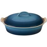 Le Creuset Heritage Marine Stoneware 4 Quart Covered Oval Casserole Dish