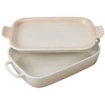 Le Creuset Meringue Stoneware Rectangular Baking Dish with Platter Lid