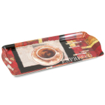 Melamine Serving Tray with Espresso Cafe Printed Design, 15 x 6.75 Inch