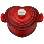 Le Creuset Signature Cerise Cast Iron Heart Shaped 2.25 Quart Dutch Oven with Stainless Steel Knob
