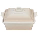 Le Creuset Heritage Meringue Stoneware Covered 2.5 Quart Square Casserole Dish