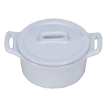 O-Ware White Stoneware Mini Round Baker with Lid