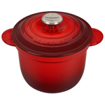 Le Creuset Cerise Cherry Cast Iron 2.25 Quart Rice Pot with Stainless Steel Knob & Insert