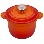 Le Creuset Flame Cast Iron 2.25 Quart Rice Pot with Stainless Steel Knob & Insert