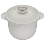 Le Creuset White Cast Iron 2.25 Quart Rice Pot with Stainless Steel Knob & Insert