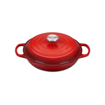 Le Creuset Signature Cerise Cherry Covered Brasier with Stainless Steel Knob
