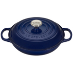 Le Creuset Signature Indigo Covered Brasier with Stainless Steel Knob