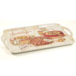 Melamine Serving Tray with Fromage Gourmet Cheese Appetizer Printed Design, 15 x 9.5 Inch
