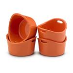 Rachael Ray Bubble & Brown Orange Stoneware, Set of 4