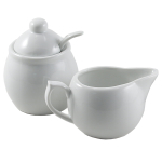 OmniWare Culinary ProWare Porcelain 5 Ounce Creamer and Sugar Jar Set with Spoon