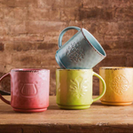 Foodesign Colors of Italy Mixed Color 14.7 Ounce Ceramic Mugs, Set of 4