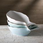 Mediterraneo Mixed Color Ceramic 10.5-Inch Fish Bowl Set of 3