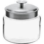 Anchor Hocking Mini Montana Jar with Handled Brushed Aluminum Cover, 48 Ounce