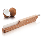 Tomorrow's Kitchen Stainless Steel and Oak Wood Double-Sided Coconut Opener