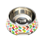 French Bull Ziggy White and Stainless Steel 11.8 Ounce Pet Bowl