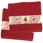 Red Christmas Tree Holiday Bath Towel - Set of 2