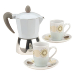 Typhoon Classic Moka Espresso Coffee Maker and Demi Cup & Saucer 5 Piece Gift Set Vintage Blue