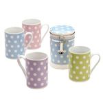 Typhoon Polka Dot Coffee Storage & Mug Set, 5 Pieces