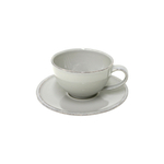 Costa Nova Friso Grey Tea Cup and Saucer, Set of 6