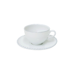 Costa Nova Pearl White Tea Cup and Saucer, Set of 6