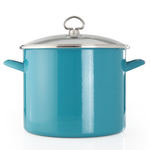 Chantal Sea Blue Enamel-on-Steel 8-Quart Stockpot with Glass Lid