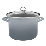Chantal Fade Grey Enamel-on-Steel 8-Quart Stockpot with Glass Lid