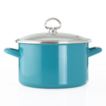 Chantal Sea Blue Enamel-on-Steel 4-Quart Soup Pot with Glass Lid