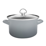 Chantal Fade Grey Enamel-on-Steel 4-Quart Soup Pot with Glass Lid