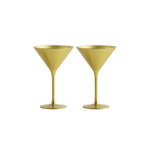Stolzle Olympia German Made Lead Free Gold Martini Glass, Set of 2
