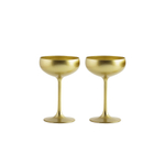 Stolzle Lausitz Olympia German Made Lead Free Gold Champagne Saucer Glass, Set of 2