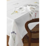 "Botanical Embroidered Square Table Cloth 54"" X 54"""