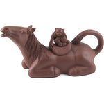 Brown Horse and Monkey Yixing Clay 6 Ounce Teapot