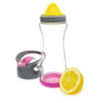 Full Circle Lemon On-the-Go Raspkberry Pink Glass Water Bottle, 20 Ounce