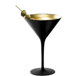Stolzle Lausitz Olympia Black and Gold German Made Lead Free Crystal Martini Glass, Set of 6