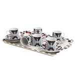 Anime Asian Girl Porcelian Espresso Cup 12 PC Set With Tray NEW