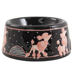 Black Polka Dots Ceramic Pet Bowl Pink Poodle