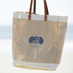 Toadfish Outfitters Burlap Toad Logo Tote Bag with Leather Straps