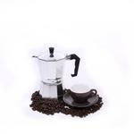 Cilio Classico 6 Cup Espresso Maker with Cilio Roma Dark Grey Porcelain Espresso Cup & Saucer