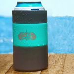 Toadfish Outfitters White and Teal Stainless Steel Non-Tipping Can Cooler, Set of 4