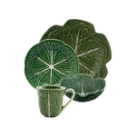 Bordallo Pinheiro Green Cabbage Earthenware 4-Piece Dishware Set