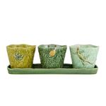 Bordallo Pinheiro Terrestrial Insects Green Earthenware 4-Piece Vase Set