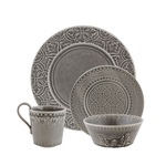 Bordallo Pinheiro Rua Nova Anthracite Gray Earthenware 16-Piece Dishware Set, Service for 4