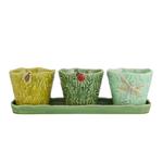 Bordallo Pinheiro Flying Bugs Green Earthenware 4-Piece Vase Set