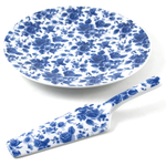 Cordon Bleu Porcelain Floral Cake Platter and Server