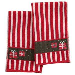 Striped Holiday Gift Package Hand Towel - Set of 2