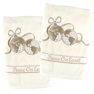 Gold Embroidered 2 Piece Peace On Earth Globes Hand Towel Set