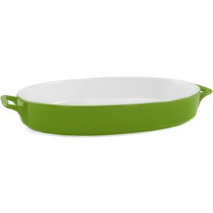 Green Ceramic 14 Inch Oval Baker
