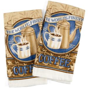 World'S Finest Coffee Cream Kitchen Towel, Set of 2