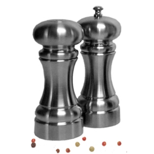 Chef Specialties Westin 2 Piece Salt Shaker and Pepper Mill Set with Solar Sea Salt Crystals and Chef Speci